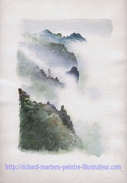 """Première version de l'aquarelle de Richard Martens : """"Le mont Huangshan dans les nuages"""". Février-mars 2017."""
