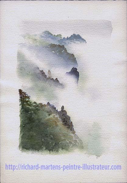 """Deuxième version de l'aquarelle de Richard Martens : """"Le mont Huangshan dans les nuages"""". Février-mars 2017."""
