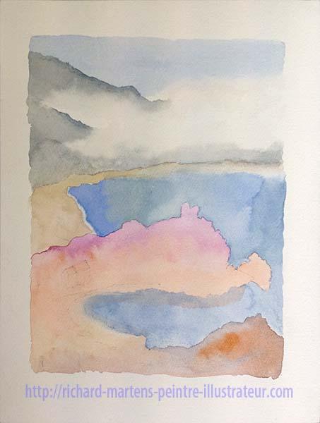 Ebauche d'un paysage Corse à l'aquarelle, par Richard Martens, en 2017.