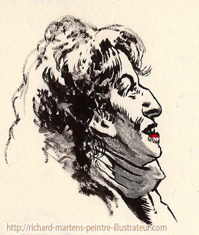 """Un autre portrait directement au pinceau-réservoir à encre noire, par Richard Martens, du personnage éponyme du film """"Camille redouble"""", le 22 mai 2016."""