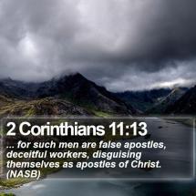 A quote from 2 Corinthians 11:13 concerning false apostles and false teachers