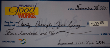 Our presentation check from Wal-Mart.  Yeah, I know they didn't have the name quite right.  Can't ask for everything I suppose.