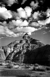Pinnacle in the Bisti Wilderness, November 2001, made with the Nikkor 25-50mm