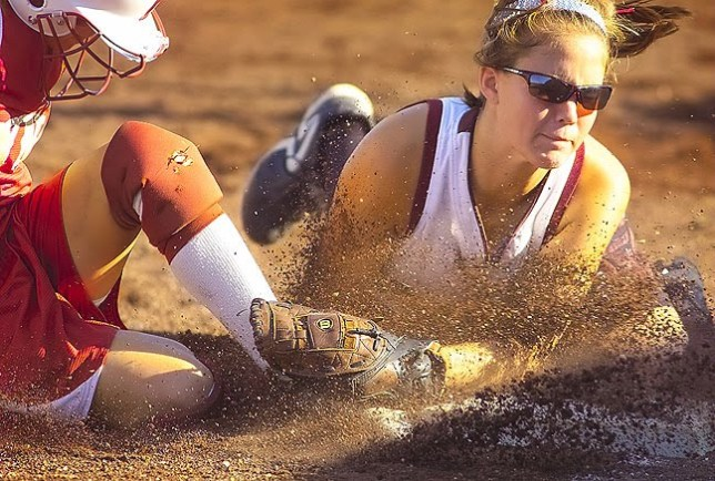 Safe! Byng vs Ada softball, August 2007