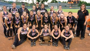 A group photo of some softball players.