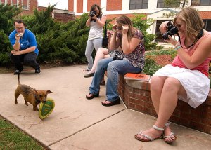 My crew takes a moment out of their campus tour to photograph a Frisbee-catching dog named Jake.