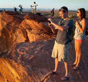 Photographers gather at sunset to photograph Horseshoe Bend south of Page, Arizona, May 2012.