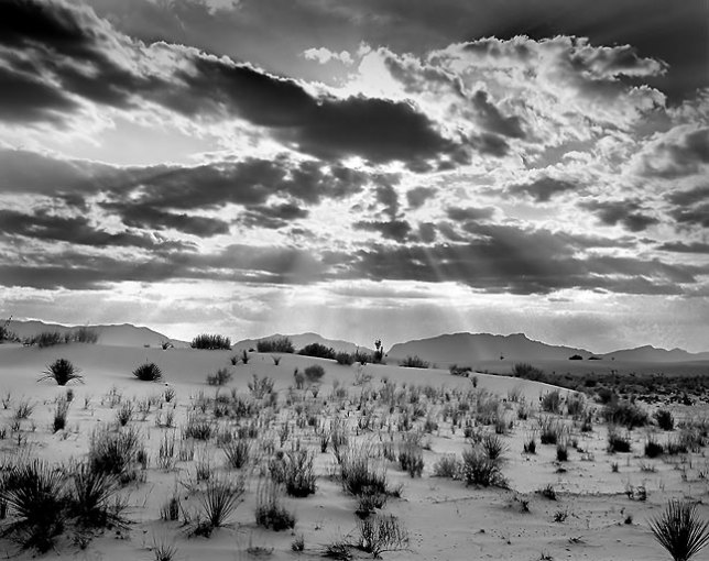 The Fuji GW670III Professional 6x7 was capable of rendering tonal qualities in black-and-white that 35mm and digital just couldn't, such as this rendering of a desert sunset in September 2000.
