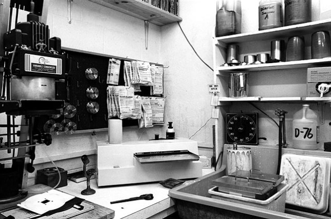 This is a corner of the small darkroom Ed Blochowiak and I shared in the 1980s. Note the chemistry: in pouches on the pegboard are developers DK-50, D-76, Microdol-X, and Dektol. On the shelf to the right are developers Diafine and Acufine. The sink holds tanks for fixer and rinsing.