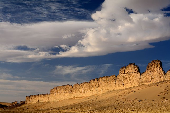 A polarizer and careful attention to exposure can yield beautiful, dramatic skies like this one near Shiprock Peak in northwestern New Mexico.