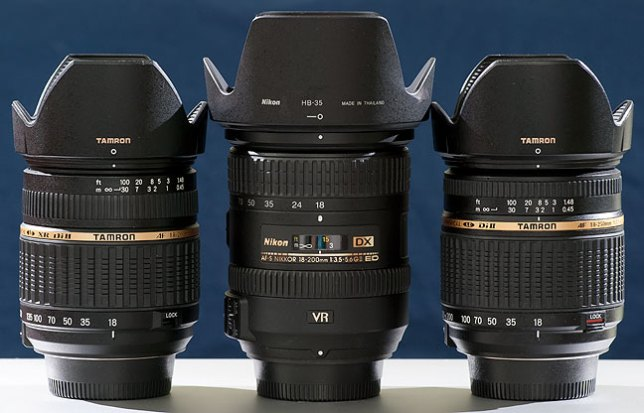 The AF-S Nikkor 18-200mm f/3.5-5.6 sits between Tamron's 18-200mm f/3.5-6.3 and the Tamron 18-250mm f3.5-6.3.