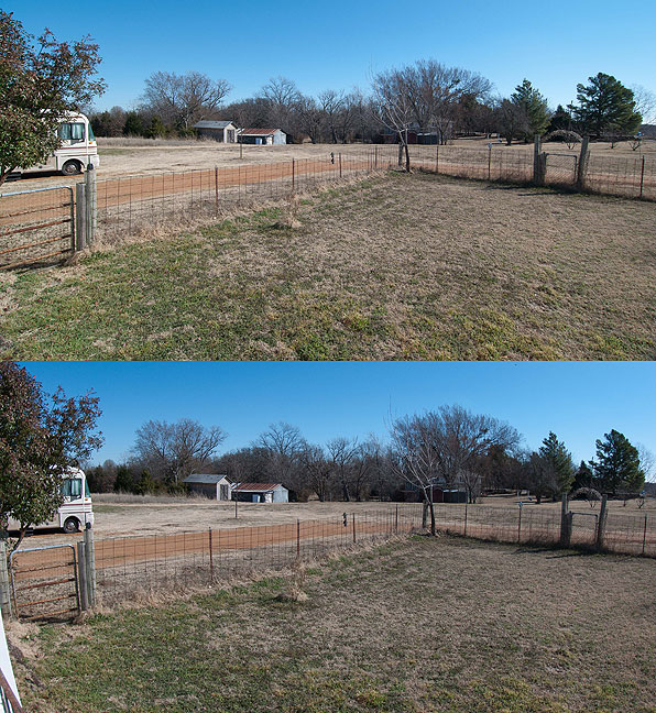 This is a comparison view shot from my front porch. The top image is a regular 12mm lens; the bottom image is the 10-17mm fisheye set to about 15mm. Since the horizon passes through the center of the image, no distortion correction was required for the fisheye view.
