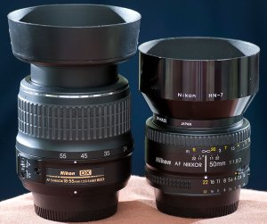 The players in today's comparison are the AF-S Nikkor 18-55mm f/3.5-5.6, and the AF Nikkor f/1.8.