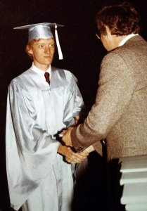 Your humble host receives his high school diploma, May 31, 1981.