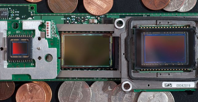 This image shows three sizes of image sensor. On the left is the Minolta DiMage 7i at 5mm x 7mm, in the middle is the Kodak DSC760 sensor at 28mm x 19mm, and on the right it Nikon's D100 sensor, which measures 24mm x 15mm. All three sensors deliver approximately six million pixels.