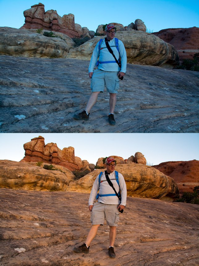 "The top image came right of the camera, shot in rapidly changing conditions (sunrise in the Utah desert); the bottom image was ""fixed"" using Adobe's camera raw dialog, with just a click or two. If the image was a JPEG, I would have considerable difficulty dialing out all those blue/cyan hues."