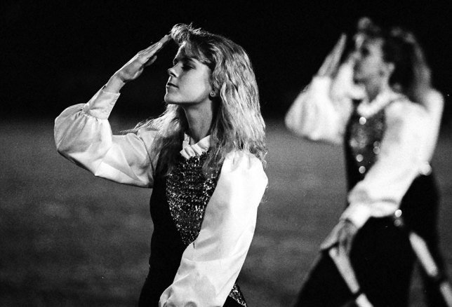"This is an Ada High Color Guard member I photographed in 1989 whose name I think is Cheri Platt. I had a huge crush on her, since I was single and 26 at the time. Ask yourself: is this memory diminished or ruined in any way by being a ""low resolution"" film image?"