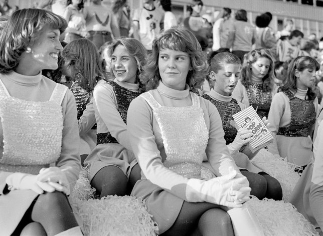 I used the Fujica ST605N for yearbook in 11th and 12th grade. Pictured at a football game in 1980 are, among others, are Jennifer Martin, Tracy Jackson, Mary Shanks, and Rhonda White. They are members of the pom squad.