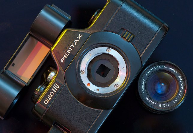 The Pentax Auto 110 was a neat-looking little camera, show here with its lens and film removed.