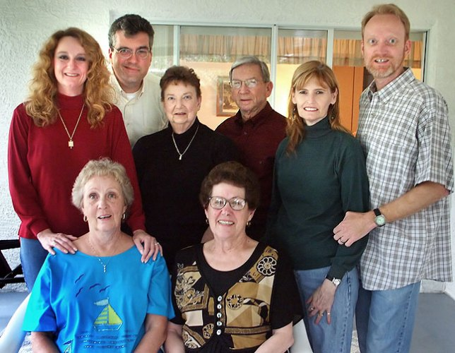 """The family gathered around our mother, Sarah Jo Barron, from left to right, seated, are Mom and her sister Margaret """"Margie"""" Skinner; standing behind them are Nicole, her guest Stuart, Dad's sister Carol, Carol's husband Wes, my wife Abby, and me."""