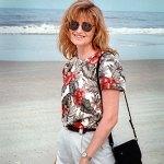 Abby walks on Flagler Beach, Florida, summer 2003