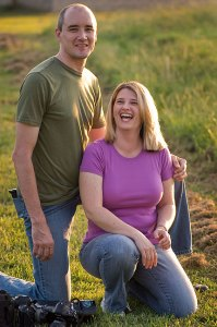 Matthew and Michelle pose in evening light near the north pasture.