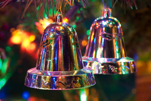 These silver bells went at the bottom of the tree instead of glass bulbs, since Paul Thomas, who is 11 months old, might get ahold of them.