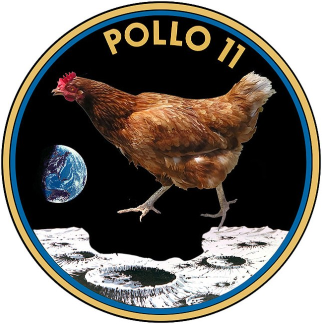 The Apollo 11 insignia as it appeared in its early planning stages before the program's name was changed in 1966.