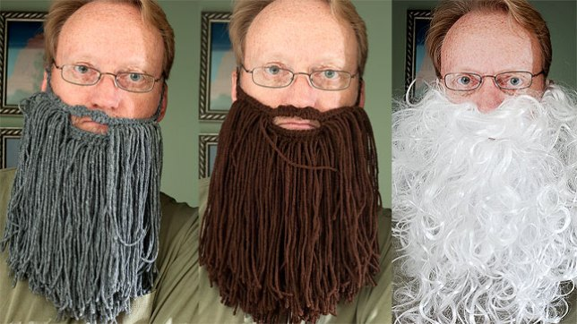 As it happens, my wife crocheted two beards for a coworker's child's birthday party, so I tried them on for her. The white beard is a Santa beard.