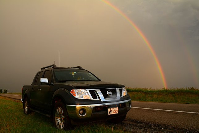 A bright double rainbow lifts from a field near Shawnee, Oklahoma last night.
