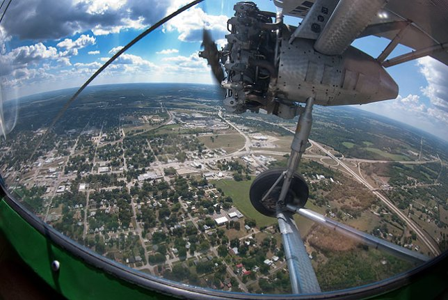 This view looks southeast from just south of the Ada Municipal Airport on our short media ride in a 1929 Ford Tri-Motor this afternoon.
