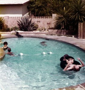 Our destination was our Aunt Margie and Uncle Bill's place in Thousand Oaks, California, where we saw the sights and swam in their pool. Pictured are Margie, our cousin Billy, Nicole and me. Also of note: I had a huge crush on my cousin Valerie that week.