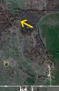 The yellow arrow shows where I parked my car to make the image below. The nearest town, Roff, population 500, is about six miles southeast of this location.