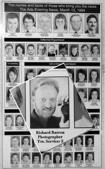 "One of the coolest things I found was this composition department paste-up of an ad from 1994 of the staff at The Ada News. It's amazing how many people in this image were fired, are in prison, or died. People to whom I show this say that I ""still look the same."""