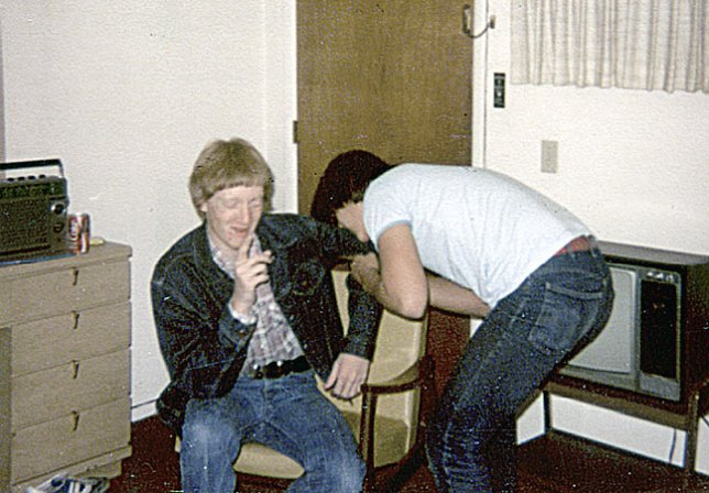 This is Dray and me in our motel room in Weatherford, Oklahoma, where we spent two nights at a speech tournament there in February 1979.