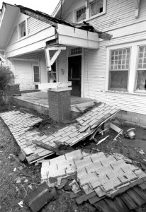 This house at 14th and Broadway was just one of the structures damaged in the March 21, 1991 tornado in Ada.