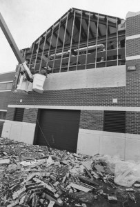 This is the facade of ECU's New Science Building, which had just been completed and had yet to be occupied when it was damaged.