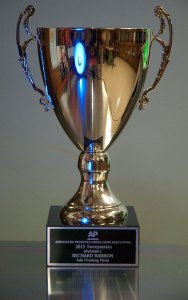 It is always a privilege to be honored for my work, like this AP/ONE sweepstakes trophy I received in June.