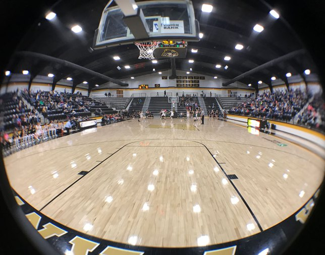 This is a fine view of the inside of Latta Panther Field House made with a fisheye clip-on lens for my phone.