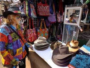 Abby prowls the outdoor market on The Plaza at Santa Fe in 2014. Abby loves Santa Fe.
