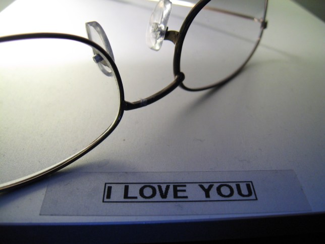 "When testing her new label maker, the first thing Abby typed was this ""I love you"" label, which I still have."
