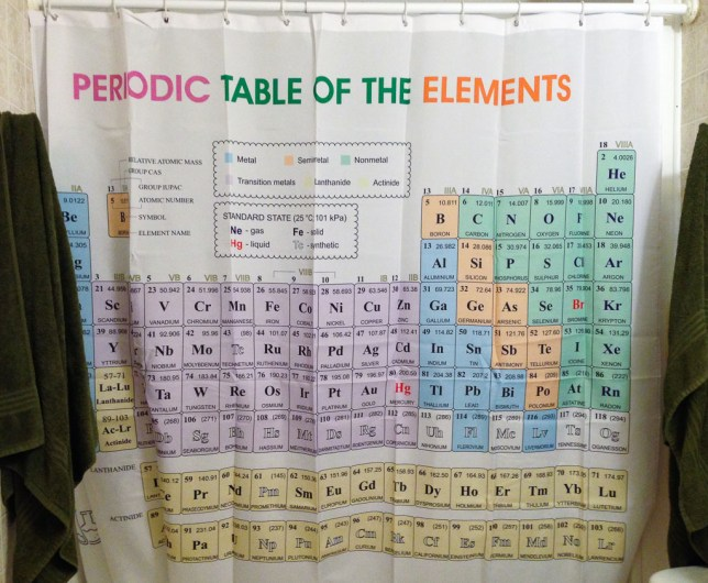 I got this new shower curtain with an updated, correct version of the periodic table. I refer to it often.