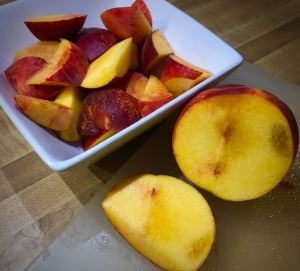 I like to slice peaches to eat eat them. It's a little less messy, and it allows me to cut out any brown spots.