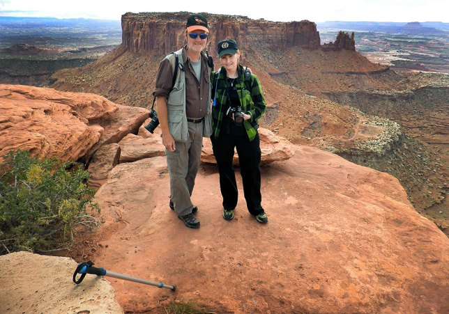 Richard and Abby pose for a photo at the end of the Grand View Point Trail in Canyonlands National Park, Utah, October 2010.