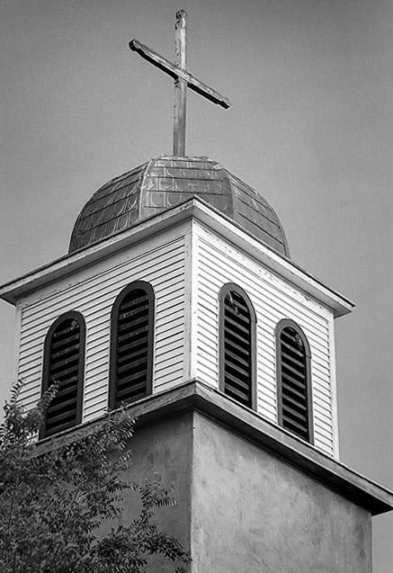 Catholic mission steeple, Cerrillos, New Mexico.