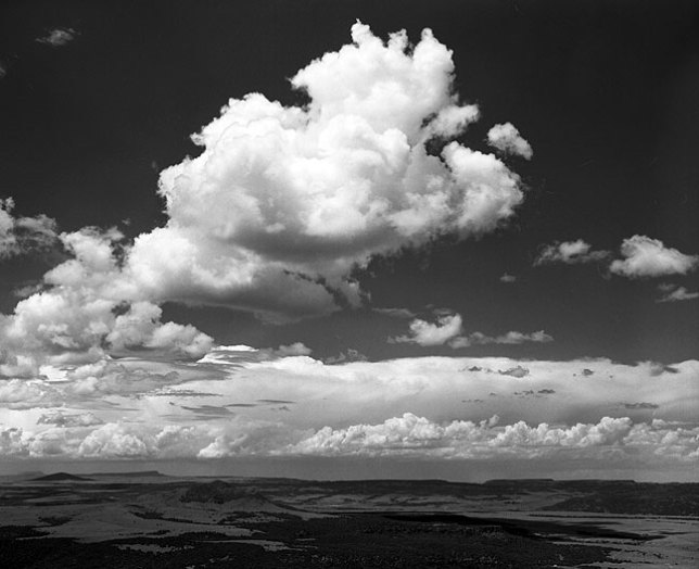 Towering cumulus clouds viewed from the rim of Capulin Volcano, Capulin Volcano National Monument, New Mexico
