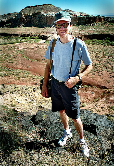 Your host poses for an image on the edge of the canyon at Rio San José, central New Mexico.