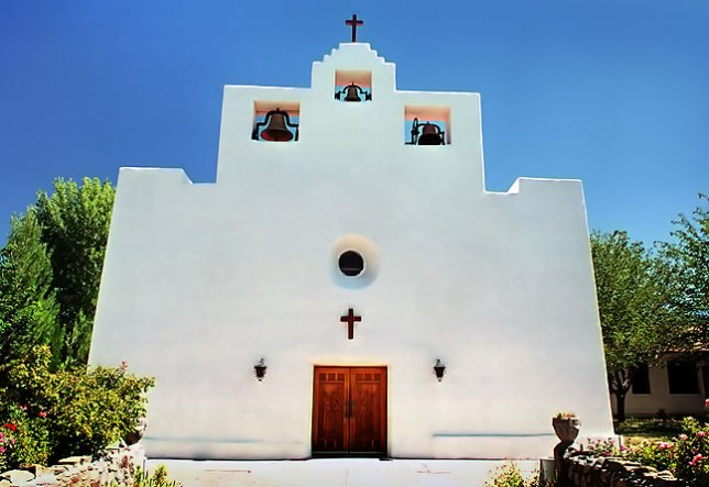 This broad view of the Tularosa Mission shows the front door, and more significantly that the midday light was just about to shine fully on the facade; ten minutes later, this image would be very different.