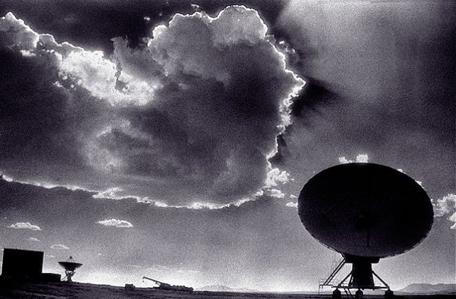 VLA antenna and cloud made with Kodak High Speed Infrared Film.