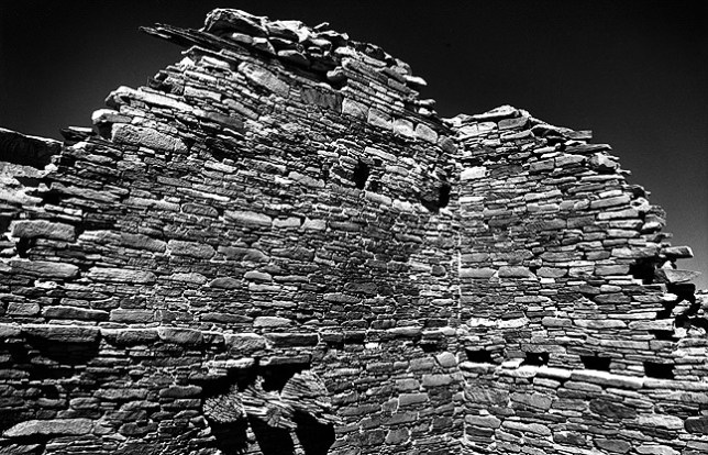 This view shows midday light on Chacoan masonry.